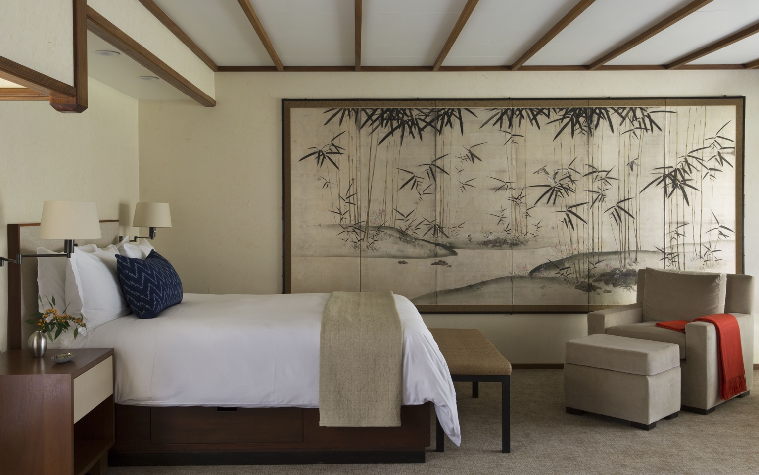 Guest Room 1 at the Golden Door Spa in San Marcos.  Interior design by Victoria Hagan