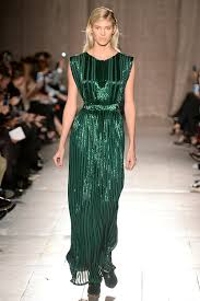 emerald hand-emproidered bugle-bead cinch-waist column gown